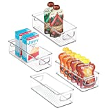 mDesign Juego de 4 cajas de almacenaje para nevera o congelador – Envases de plástico para alimentos – Contenedores de plástico apilables con asas incorporadas para cocina – transparente