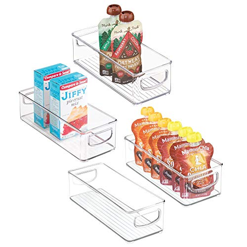mDesign Stackable Plastic Food Storage Bin with Handles for Kitchen Pantry, Cabinet, Refrigerator, Freezer - Organizer for Fruit, Yogurt, Squeeze Pouches - BPA Free, 10' Long - 4 Pack - Clear