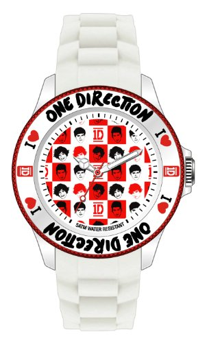 One Direction ONED05/S - Reloj de Cuarzo Unisex Infantil, con Correa de Silicona, Color Blanco