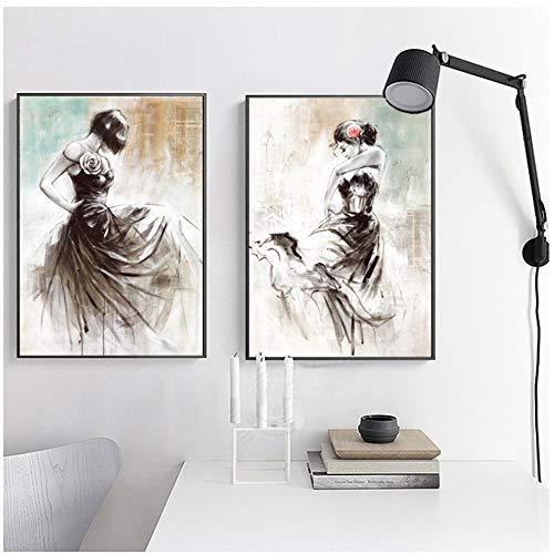 NIESHUIJING Druck auf Leinwand Abstrakte handgemalte Malerei Wandkunst Tanzen Mädchen Poster Drucken Wandbilder für Wohnzimmer Dekor 23,6