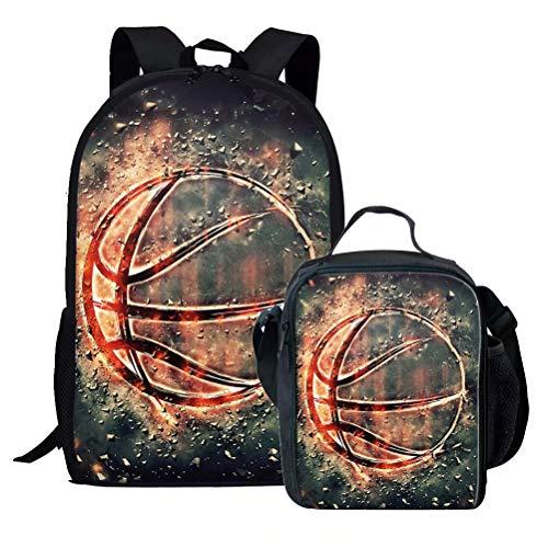 chaqlin Kinder Schulrucksack-Set Eishockey Muster Schultertasche Büchertasche mit isolierter Lunchtasche Mehrfarbig Basketball-6(2pcs/Set) Einheitsgröße