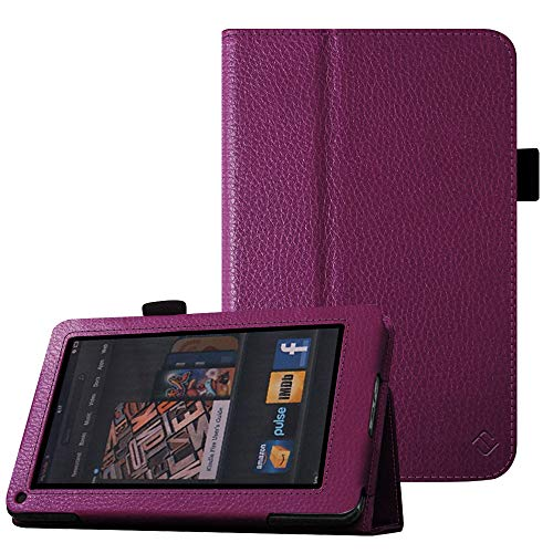 Fintie Folio Case for Kindle Fire 1st Generation - Slim Fit Stand Leather Cover for Amazon Kindle Fire 7' Tablet (Will only fit Original Kindle Fire 1st Gen - 2011 Release, no Rear Camera), Purple