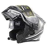 Moto Bluetooth Walkie Talkie Doppia Visiera La Vibrazione Casco Integrale DOT Certificato Road Rider Sport Traspirante Casco modulare per Adulti 4 Stagioni Risposta Automatica,63~64cm XXL