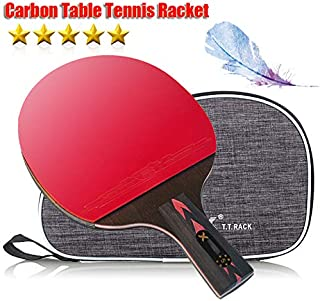 Ruixy Pro Carbon Performance-Level Table Tennis Racket Ping Pong Paddle with Carbon Technology for Tournament Play Rubber Spin Bat Racquet Bundle Portable Cover Case
