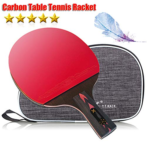 Ruixy Pro Carbon PerformanceLevel Table Tennis Racket Ping Pong Paddle with Carbon Technology for Tournament Play Rubber Spin Bat Racquet Bundle Portable Cover Case Penhold Type