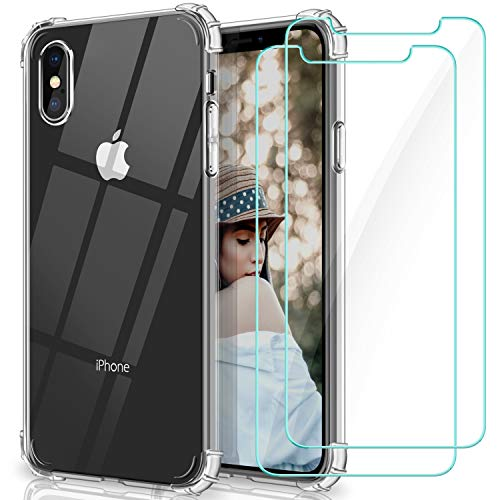 WINmall Coque Pour iPhone X, Coque Pour iPhone XS, 2 Pack Verre trempé Protection écran, [AIR Cushion Protection] Transparent Silicone Shock-Absorption TPU Bumper...