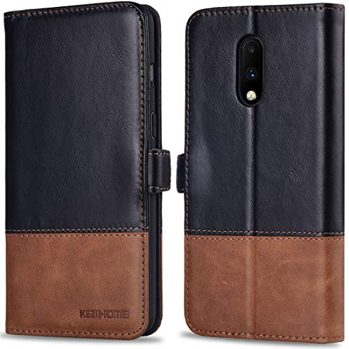 KEZiHOME Oneplus 7 Case, Oneplus 7 Wallet Case, [RFID Blocking] Genuine Leather Flip Folio Cover with Card Slots, Kickstand, Magnetic Clasp Shockproof Phone Case for Oneplus 7 2019 (Black)