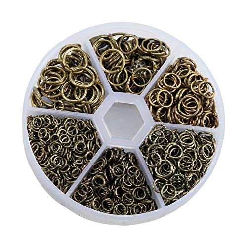 1600 Piezas 4mm-10mm Anillas Abiertas Anillas de Salto Accesorios de Fabricación de Bisutería para Collar Gargantilla Pulsera(Bronce)