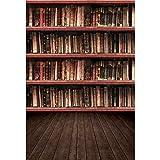 Haoyiyi 5x7ft Old Bookshelf Backdrop Vintage Books Wood Library Bookcase Bookrack Photography Background Wood Floor for Students Educator Teacher Portrait School Library Room Photo Studio Props