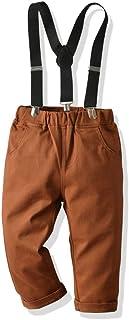 HOSD2019 Nuevo niño Caballero Babero Pantalones Tejidos de algodón niño Casual Primavera y otoño Pantalones