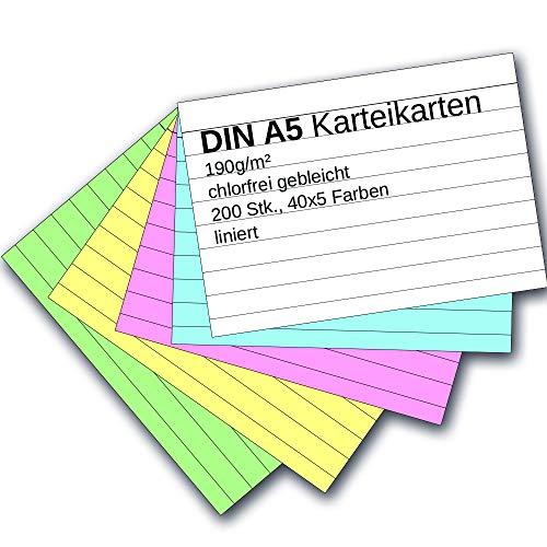 Karteikarten 200 Stück A5 farbig liniert