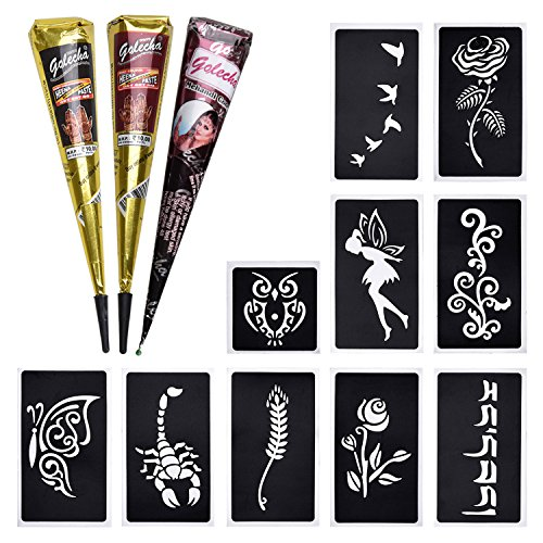 3x Henna Tattoo Temporäre Tattoo Natürliche + 10x Henna Tattoo Schablone,Temporäre Mehndi Tattoos, Natürliche Kegel, Tattoo sticker, Temporäre Tätowierung (Schwarz, Braun, Rotbraun)