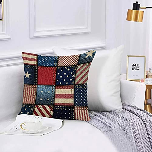Cushion Cover Throw Pillow Independence Memorial Day Patchwork of American Flag Throw Pillow Covers Set 45x45 cm for Couch Chair Bedroom