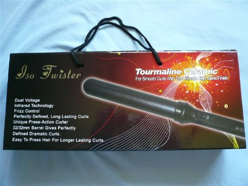 Iso Twister Tourmaline Ceramic For Smooth Curls 32mm curling iron Black
