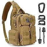 G4Free Tactical EDC Sling Bag Backpack with Pistol Holster Military Shoulder Range Backpack for Concealed Carry (Tan)