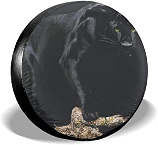 Black Panther Spare Tire Cover PVC Leather Waterproof Dust-Proof Universal Spare Wheel Tire Cover Fit for Jeep,RV, SUV and Many Vehicle 14