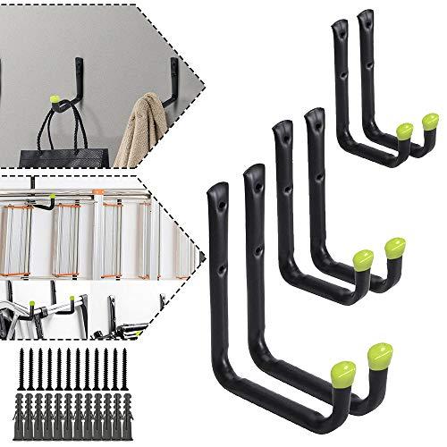 Froadp 6 tlg Gerätehaken Regalbefestigungen Haken Wandmontage Mehrere Größen Werkzeughalter Schwerlast Haken zum Aufbewahren von Gartengeräten Leitern Sportgeräten(Schwarz Grün)