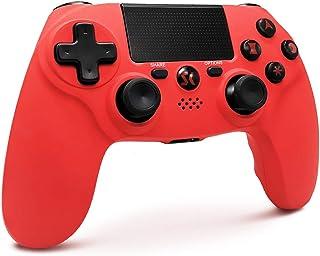 Mandos PS4 Inalambricos, Controlador de Juegos PS4 Inalámbrico Bluetooth Dual Shock Gamepad de Doble Vibración SIX-AXIS con Touch Pad y Conector de Audio para PlayStation 4/PS3/PC (Net)