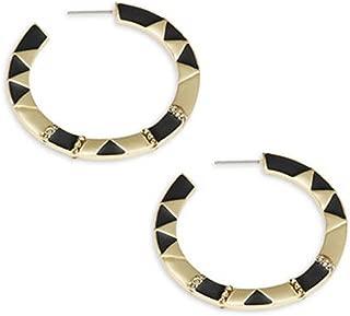 Geometric Black Enamel Accented Goldtone Hoop Earrings