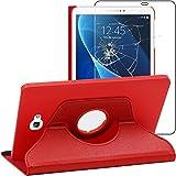 ebestStar - Funda Compatible con Samsung Galaxy Tab A6 A 10.1 (2018, 2016) T580 T585 Carcasa Cuero PU, Giratoria 360 Grados, Función Soporte, Rojo +Cristal Templado [Aparato: 254.2x155.3x8.2mm 10.1']