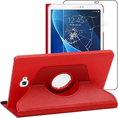 ebestStar - Coque Compatible avec Samsung Galaxy Tab A6 A 10.1 (2018, 2016) T580 T585 Housse Protection Etui PU Cuir Support Rotatif 360, Rouge +Verre Trempé [Appareil: 254.2 x 155.3 x 8.2mm, 10.1'']