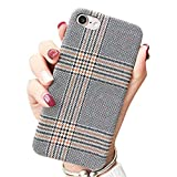 for iPhone 7 4.7' for iPhone 8 4.7' NAMA Soft Cloth Grid Fabric Pattern Stripes Vintage Plaid Retro Grey Gray Cover Case