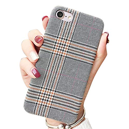 NAMA iPhone 7/8 4.7' iPhone SE (2020) 2nd Gen Soft Cloth Grid Fabric Pattern Stripes Vintage Plaid Retro Grey Gray Cover Case