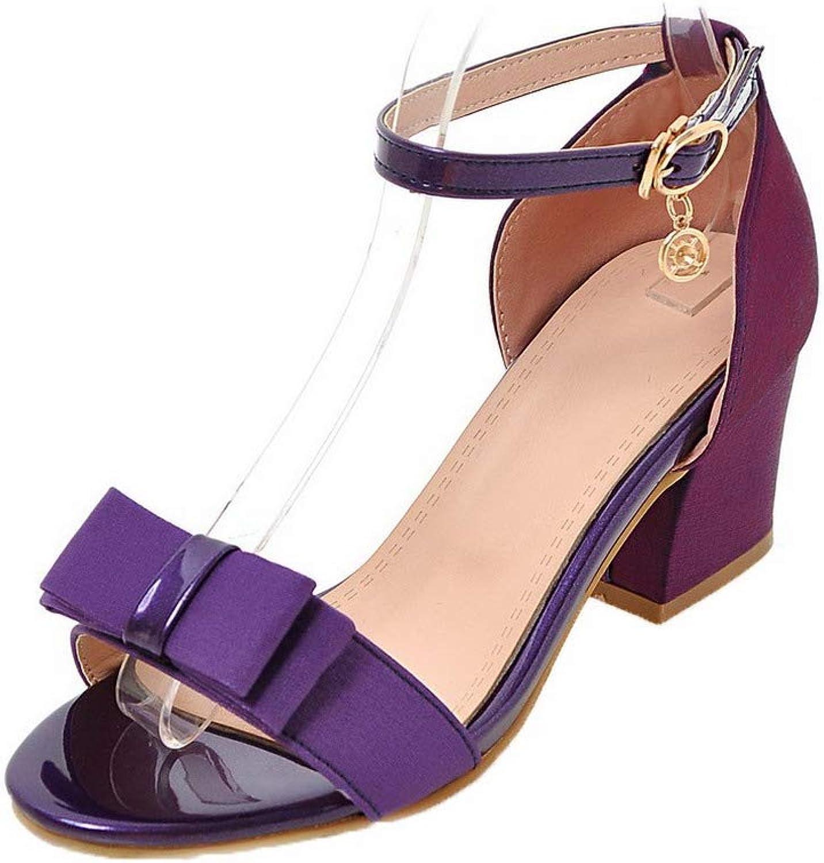WeenFashion Women's Solid Blend Materials Kitten-Heels Open-Toe Buckle Sandals,AMGLX009638