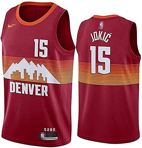 YDHZ Nuǵǵets 15# Jókić Baloncesto Jersey, la Parte Superior de la Camiseta Bordada de la Juventud de los Hombres, Traje de Entrenamiento de Malla Transpirable Red-XL