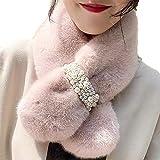 Women Winter Thicken Imitation Rabbit Fur Scarf, Soft Touch Pearl Plush Bib Plush Scarfs Clothes Accessories (pink)