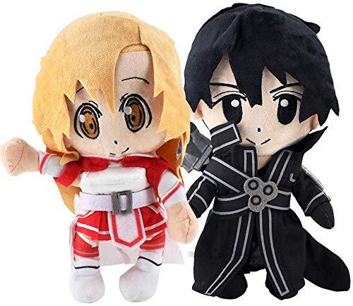 25 cm 2 Estilos Sword Online Art Asuna Kirito Kazuto Stuffed Toy Soft Doll Regalos para niños
