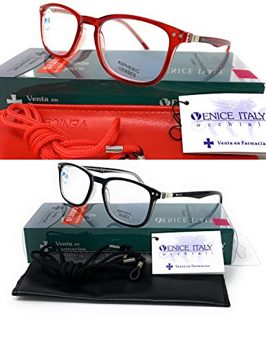 New Model 2021 Gafas con filtro bloqueo de luz azul para gaming, ordenador, móvil. Anti fatiga professional unisex venice (Pack 2 Rojo + Negro, 2.00)