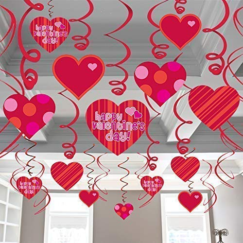 Valentines Decorations Hanging Heart Swirls - Pack of 46 | Valentines Day Decorations - Valentines Day Hanging Heart Decorations for Ceiling and Windows - Bridal Shower - Valentines Day Party Favors
