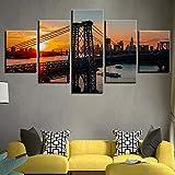 XZWYB Cuadro en Lienzo Puente de Williamsburg Brooklyn 150x80cm Impresión de 5 Piezas Material Tejido no Tejido Impresión...