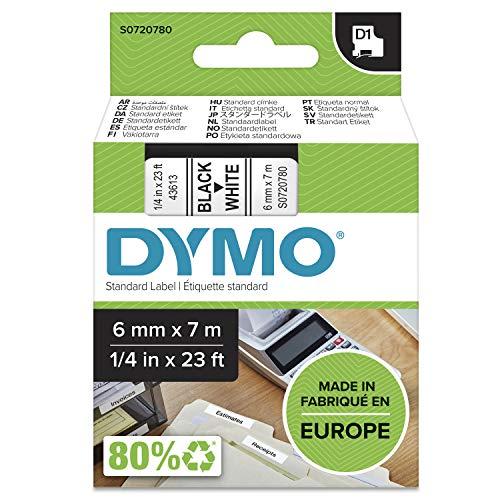 DYMO D1-Etikettenband Authentisch | schwarzer Druck auf weißem Untergrund | 6mm x 7m | selbstklebendes Schriftband | für LabelManager-Beschriftungsgerät