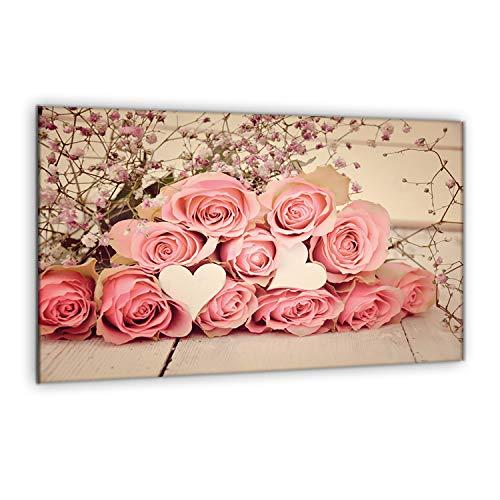 decorwelt | Herdabdeckplatte 80x52 cm 1-Teilig Blumen Pink Ceranfeldabdeckung Universal Spritzschutz Glas Deko Elektroherd Induktion für Kochplatten Herdschutz Schneidebrett Sicherheitsglas