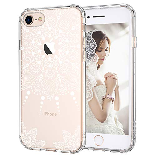 iPhone 8 Case, iPhone 8 Clear Case, MOSNOVO White Henna Mandala Floral Lace Clear Design Printed Hard with TPU Bumper Protective Back Case Cover for iPhone 8 (2017)