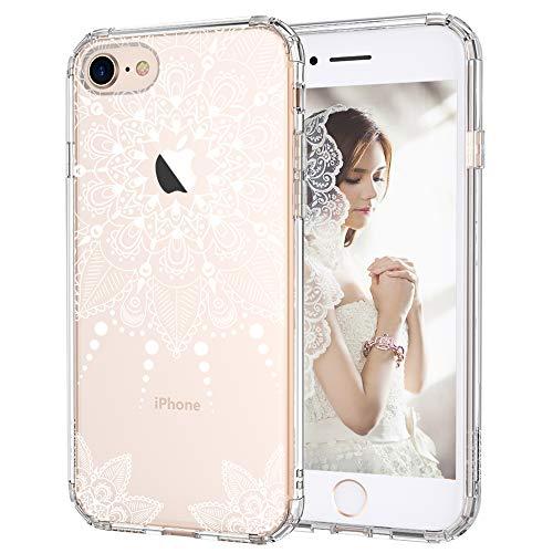 MOSNOVO iPhone 8 Hülle, Weiß Henna Mandala Spitze Blumen Klar Muster TPU Bumper mit Hart Plastik Durchsichtig Schutzhülle Transparent für iPhone 8 (2017), iPhone 8 Case (White Henna)