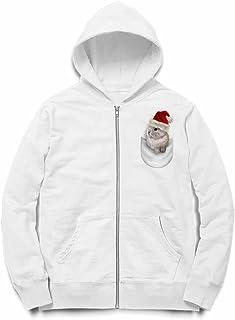 Fox Republic ポケット ホワイト サンタ 子ウサギ ホワイト キッズ パーカー シッパー スウェット トレーナー 130cm