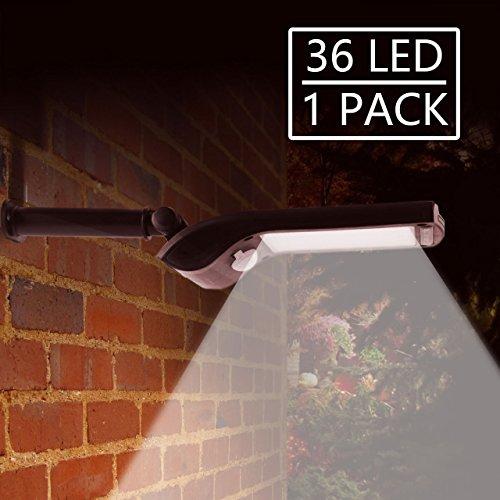 36 LED Foco Solar Exterior, Solar Security Lights Sensor de movimiento al aire libre con Stents instalados giratorios, Exterior impermeable (1 Pack)