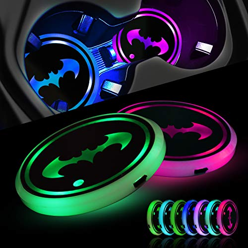 2PCS Cup Holders Coaster LED Car Cup Holder Coasters Lights, Bat Car Coasters for Cup Holders, 7-Color USB Rechargeable Drink Coasters in Bar, City Coaster for Drowsy Atmosphere Man