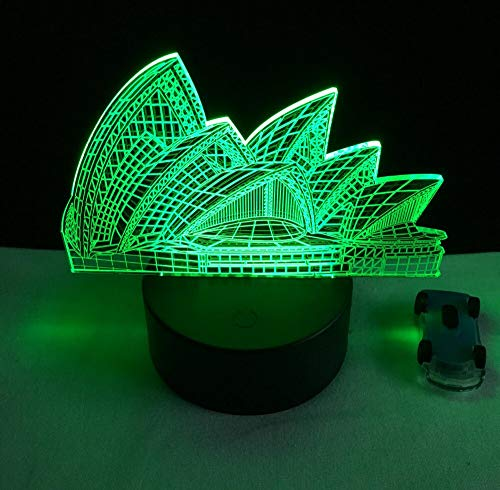 Colorful Three-Dimensional Sydney Opera House USB Color Night Light 3D Table lamp LED Desk Cafe Restaurant Lighting | Small LED Table lamp, Smart Touch Light