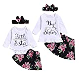 Girls Matching Clothes for Sister Letters Top+Floral Skirt+Headband Outfits Set...