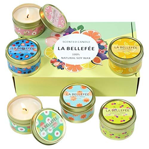 LA BELLEFÉE Coffret Bougie Parfumée de Cire de Soja pour l'Aromathérapie, Mariage, Anniversaire, Bain, Yoga (6 Bougies Fruitées)