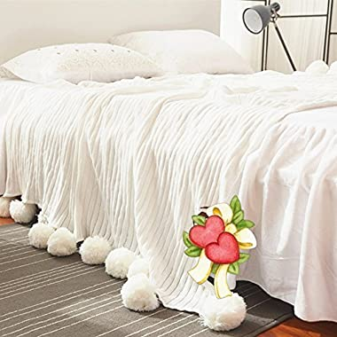 Abreeze Air conditioning Blanket All Seasons Sleeping Knitted Blanket with Pompoms Fringe 39 x59