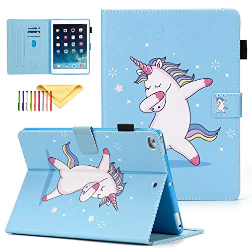 Case for Apple iPad 2018/2017 / Air/Air 2 (9.7 Inch), Uliking Cute Pattern PU Leather Skinshell Stand Function Holster Flip Protective Cover for iPad 6th/5th/Air/Air 2, Dance Unicorn