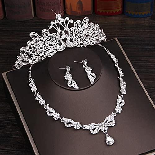 3PCS Rhinestone Crystal Butterfly Conjuntos de joyas nupciales Collar Pendiente Tiara Set Adornos para el cabello de la boda Conjunto de joyas de cuentas africanas (Color de metal: Estilo B)