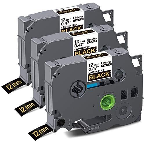 "Unismar Compatible Label Tape Replacement for Brother TZe-334 TZe334 TZ334 for PT-D200 PT-D210 PT-D600 PT-D400 PT-H100 PT-H110 PT-1280 PT-1290 Label Maker, 1/2"" x 26.2', Gold on Black, 3-Pack"