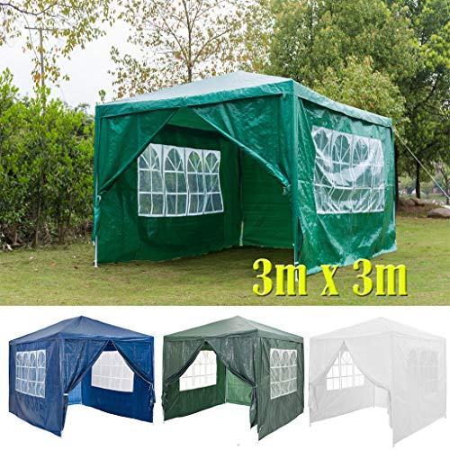 DayPlus 3x3m Garten Pavillon mit Seitenteilen, Wasserdichter und UV-Schutz Markise Festzelt Partyzelt, 120g PE Power Coated Steel Frame Hochzeitszelt Grün