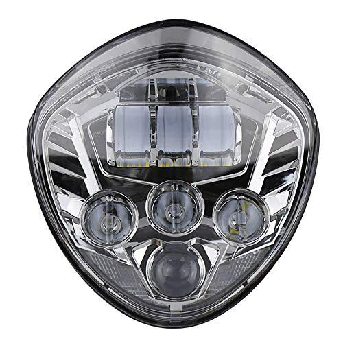 QINGQING Linterna Frontal LED,50 W de luz lejana y cercana,LED para cruceros de Motocicleta Victory 07-17 Cross Road Country,1 Unidad (Negro,Plateado)
